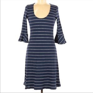 Amour Vert striped navy blue and white dress